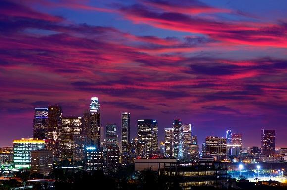 Los Angeles skyline sunset