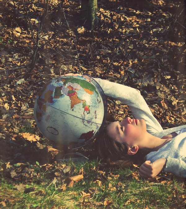 Young female globe