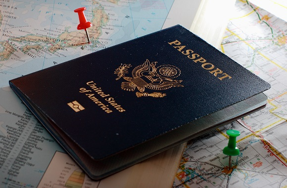 US passport on a map