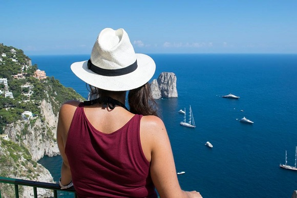 Girl looking out to sea in Capri, Italy
