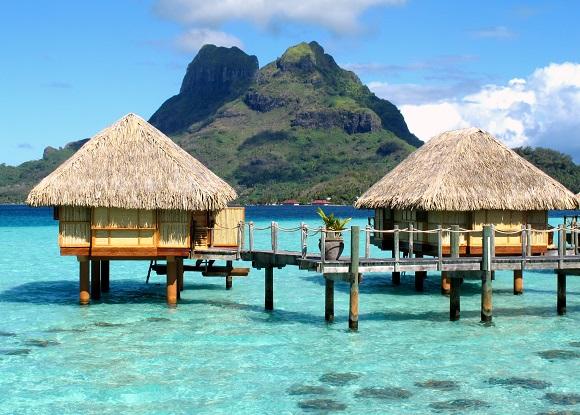 Beach huts in Bora Bora