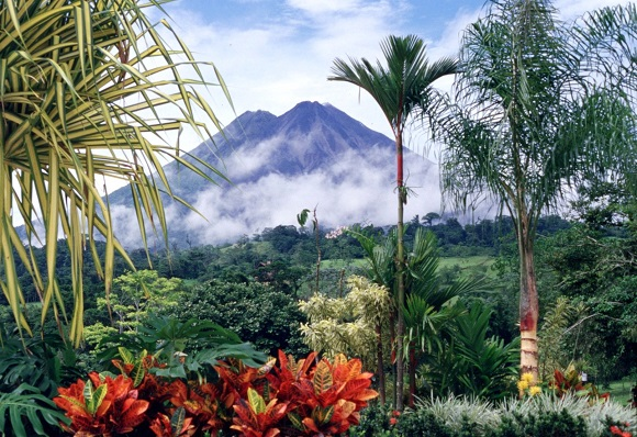 Costa Rica landscape and volcano