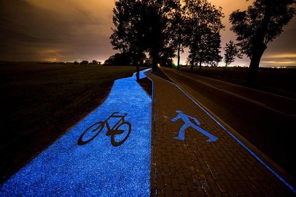 Glow in the dark bike lane in Poland
