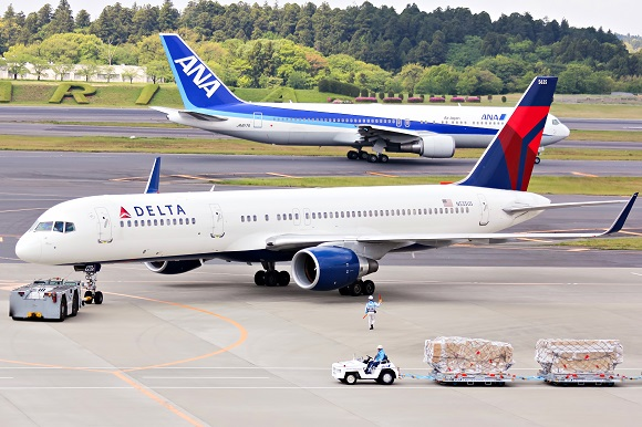 Delta airlines airplane airport