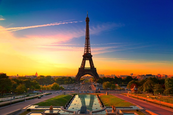 Eiffel tower sunset paris france