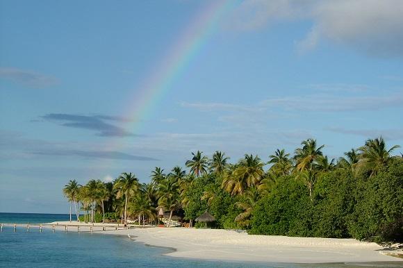 Maldives beach rainbow romantic destination