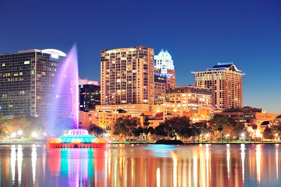 Orlando skyline fountain USA
