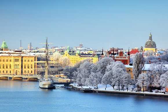 Snow covered city Sweden