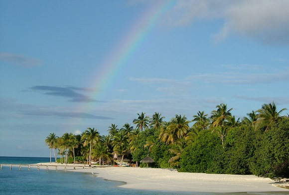 Maldives beach rainbow