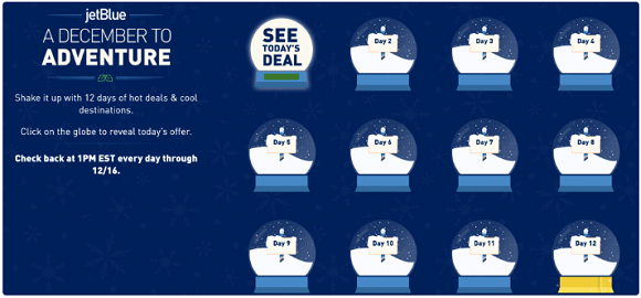 jetblue is celebrating christmas with 12 days of deals traveler 39 s edition. Black Bedroom Furniture Sets. Home Design Ideas