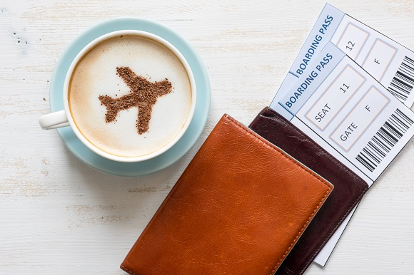 Flight tickets and coffee