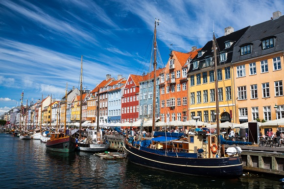 Colorful harbor houses in Copenhagen