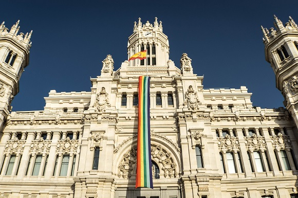 Gay pride flag in Madrid