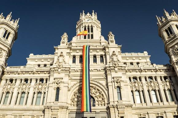 Gay pride flag in Madrid
