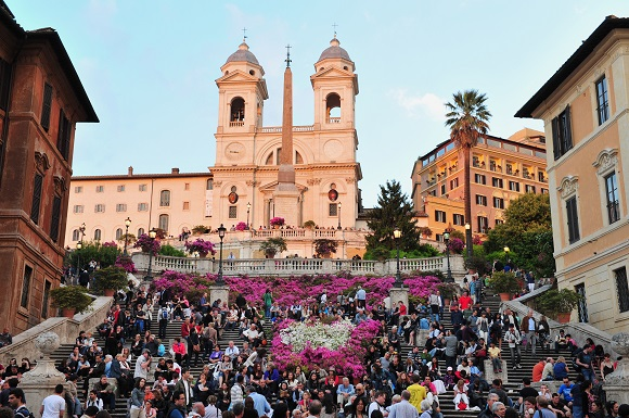Crowds on the Spanish Steps in Rome