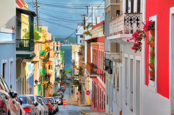 Colorful street in San Juan, Puerto Rico