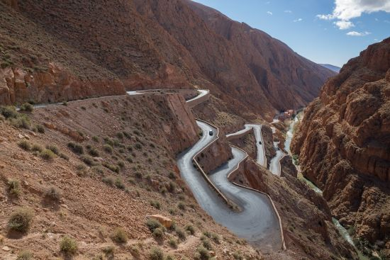 Winding road in Dades Valley, Morocco